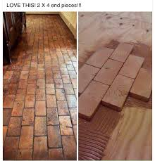 tile flooring that looks like brick. Delighful Brick 2x4 Faux Brick Floor With Wood Blocks Wooden Blocks For Fake Flooring  Awesome Diy Idea To Tile Flooring That Looks Like Brick K