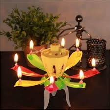 candles double layer rotating al lotus electronic art birthday candles with holder gift for kids birthday