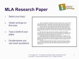 How To Write A Research Paper Using Mla Format Copyright Texas Education Agency All Rights Reserved 1 Formatting