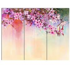 watercolor painting cherry blossoms 3 piece painting print on canvas set