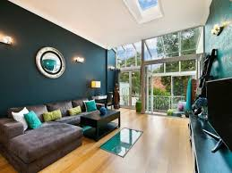 wall color for brown furniture. Deep Teal Wall Color Modern Living Room Decor Ideas Brown Sofa Wood Floor For Furniture T
