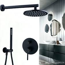black bath faucet brass faucets 8 rain shower head bathroom set mixer valve from tub connected