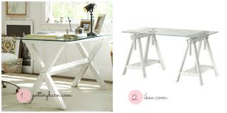 gorgeous white wood stained sawhorse desk for glass tabletop standing with storage base furnishing your