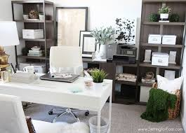home office setup design small. Wide Angle View Busy Design Office Creating A Home Wooden Desk Table White Setup Small