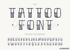 Tattoo Font Black Color Retro Font Sans Serif Style For Party