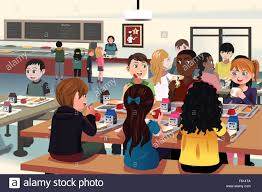 elementary school cafeteria. A Vector Illustration Of Kids Eating At The School Cafeteria - Stock Elementary