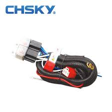 online buy whole headlight wiring harness from headlight chsky hot waterproof 12v 2 light h4 headlight wiring harness relay kits ch h4