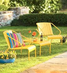 Image Yellow Metal Yellow Patio Furniture Three Piece Stacking Yellow Patio Furniture Is Bright And Cheerful Especially With Fun Patio Furniture Yellow Patio Furniture Patio Furniture