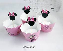 Pink Minnie Mouse 12pcs <b>Wrappers</b> 12 pcs Toppers Paper Cupcake ...