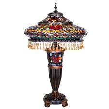 multi colored stained glass indoor table lamp with parisian