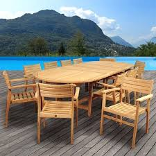 13 piece dining set international home teak piece extendable patio dining set montreal 13 piece outdoor