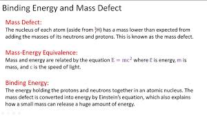 binding energy and mass defect overview