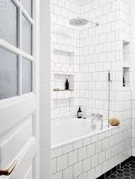 white square tile bathroom. Unique White Bathroom With White Square Subway Tile And A Black Hexagonal Tiled Floor On White Square Tile T