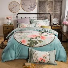 qast blue whte flower bedding sets 100 cotton cute girls bed linen queen king size high end wedding bedclothes bedspread twin comforter sets pink