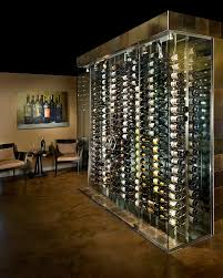 Contemporary metal racking wine cellar.