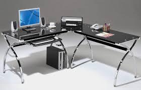 glass l shaped desk black