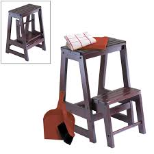 outstanding step stool for kitchen decoration and grey accent wall also glass window plus kitchen