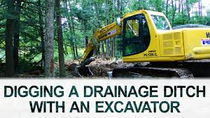 drainage ditch digging drainage ditch with excavator youtube