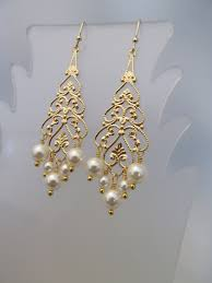 pearl earring swarovski crystal pearl earring pearl dangle gold filigree pearl chandelier