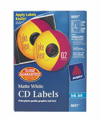 Avery Cd Labels Matte White 100 Face Labels 200 Spine Labels 8691