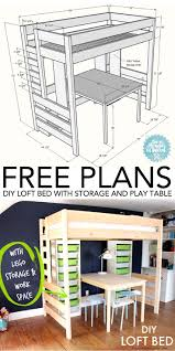 how to build a diy loft bed with storage and play table loftbed