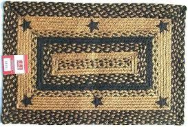 primitive star area rugs oval fabulous o rustic applique black tan braided jute rug office