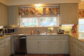 kitchen curtains window ideas brown tile wall along beige seamless granite countertops white gloss wood tealight