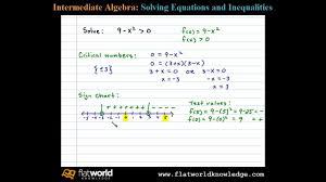 Solve A Quadratic Inequality Using A Sign Chart Algebra Ia 06 0502