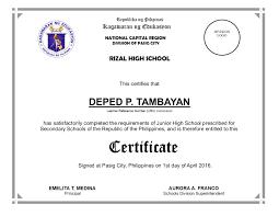 Enclosure No 2 Junior High School Certificate Deped Tambayan Ph