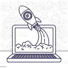 Beyaz Arka Plan Ile Dizüstü Bilgisayar Ve Uzay Roketi Ile Mavi Siluet Stok  Vektör Sanatı & Arka planlar'nin Daha Fazla Görseli - iStock