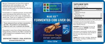 blue ice fermented cod liver oil cinnamon tingle full label 2016