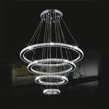 2 of 8 modern luxury diy crystal chandelier pendant light ceiling lamp round 4 led ring