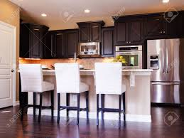 Dark Wood Floors In Kitchen Modern Kitchen With Dark Wood Cabinets And Hardwood Floors Stock