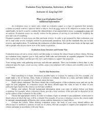 evaluation essay instructions and rubric essays argument
