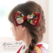 髪飾り 赤 レッド 黒 ブラック リボン 椿柄 花柄 縮緬 ちりめん コーム