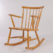 vintage birch wood rocking chair from the 60s mid century design
