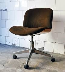 mid century orange office chair comfortable west elm swivel teak vintage modern desk medium size used