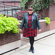 chicago plus size blogger amber from style plus curves in a leather peplum moto jacket from