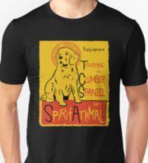 funny clumber spaniel cute dog chat noir mashup art design uni t shirt