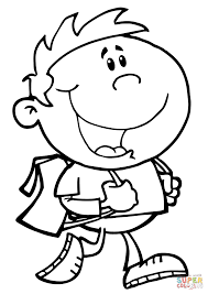 Small Picture Walking School Boy coloring page Free Printable Coloring Pages
