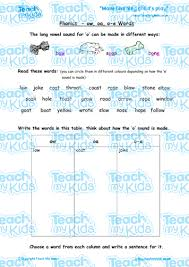 A simple pack of 12 worksheets to introduce the long vowel o sound oa and ow. Phonics Ow Oa O E Words Teach My Kids