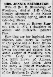 Jennie Fink 27 Dec 1951 Obit - Newspapers.com