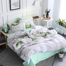 home textile light gray green girl kids bedding set duvet cover bed sheet pillowcase teen woman bedlinen bedding set embroidered duvet cover striped duvet