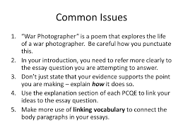 "war photographer"" isolation cel ppt  common issues war photographer is a poem that explores the life of a war photographer"