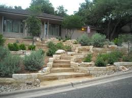 Retaining Wall Stairs Design Xeriscape Front Yard With Limestone