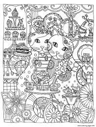 Adult Two Cute Cats Coloring Pages Printable Tremendous Sheets Of