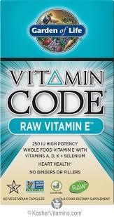 garden of life kosher vitamin code raw vitamin e 60 capsules