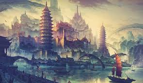 Wallpaper Temple Landscape Painting Illustration Sky