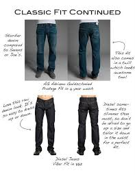 Adriano Goldschmied Jeans Size Chart Classic Fit Cont Denim Fit Guide Mens Style Guide Mens