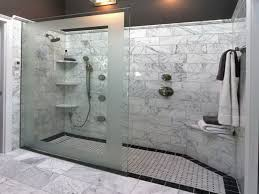 Appealing Grey Marble Tile Wall Decorating Stylish Walk In Shower Designs  with Glass Door